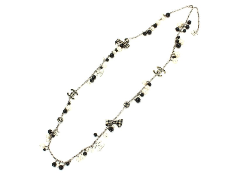 Chanel Silver Tone Hardware with Simulated Glass Pearl Ribbon Ball CC Logos Necklace