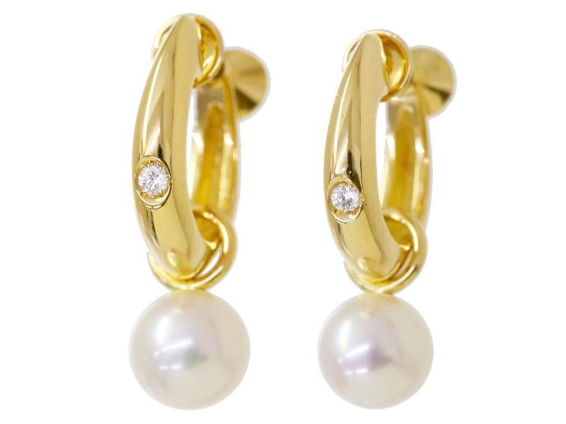 Mikimoto 18K Yellow Gold with Akoya Pearl & Diamond Earrings
