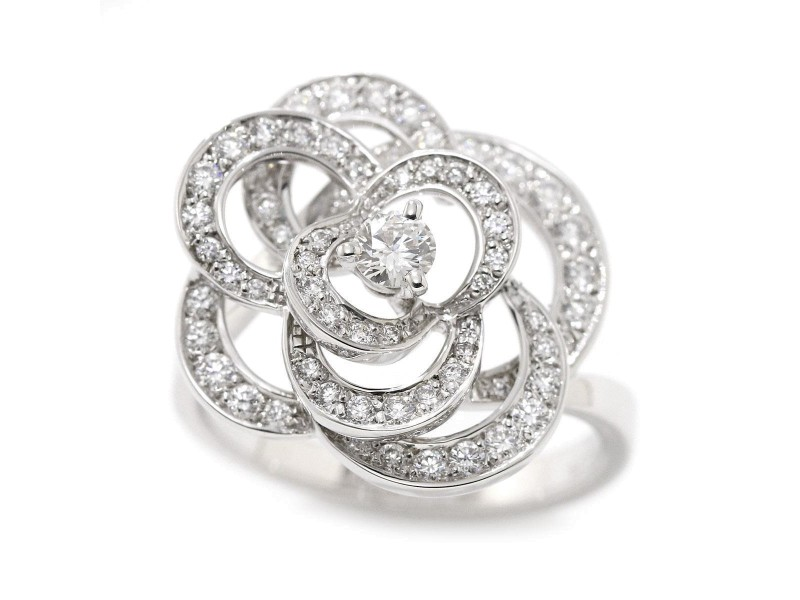 Chanel 18K White Gold with Diamond Camelia Ring Size 6.5