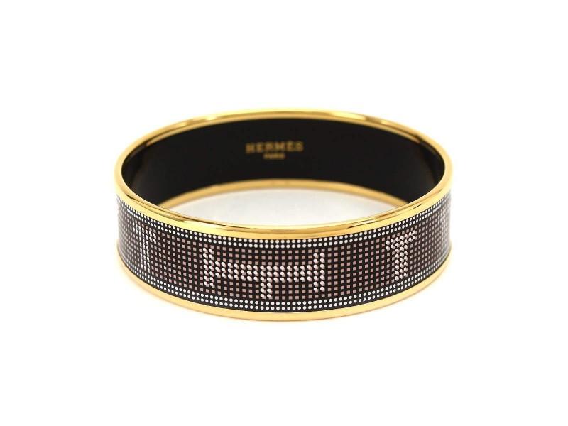 Hermes Gold Tone Hardware and Enamel Bangle Cuff Bracelet