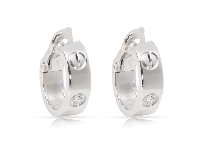Cartier Love Earrings 18K White Gold with 0.20ct Diamond