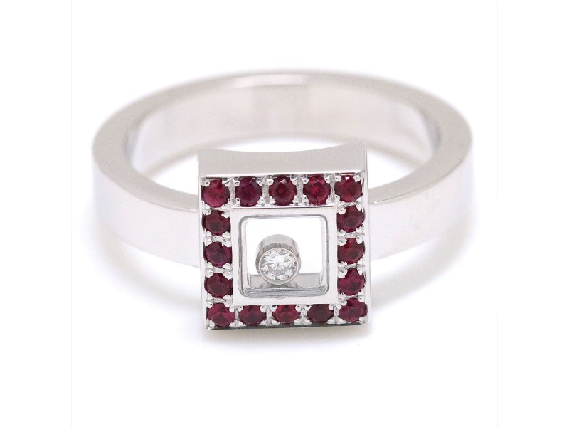 Chopard Happy Diamond 18K White Gold Ruby Ring Size 9
