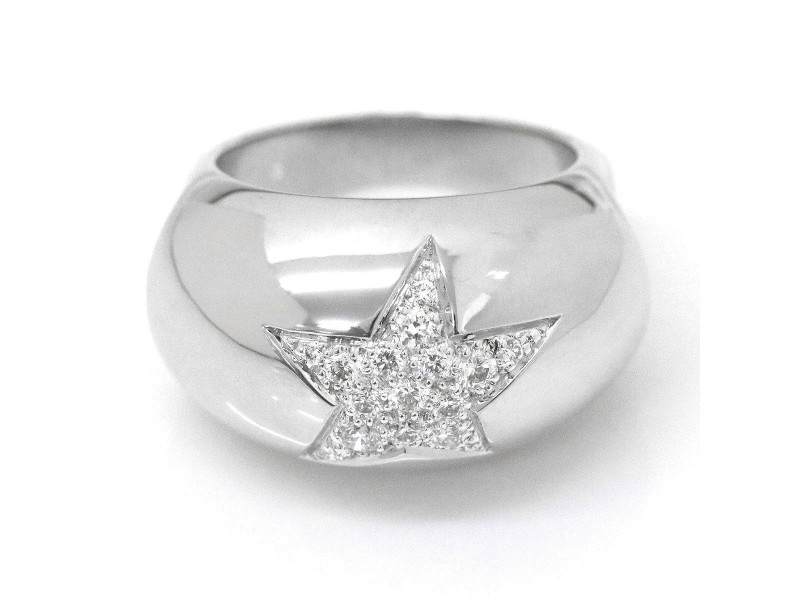Chanel Comete 18K White Gold Diamond Ring Size 7
