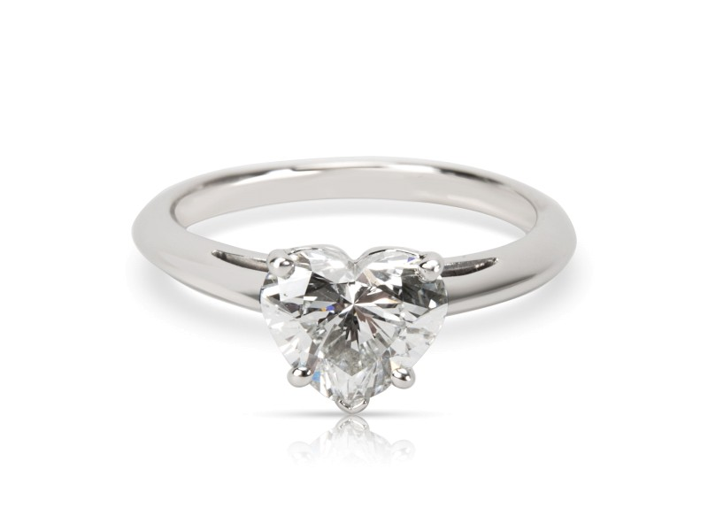 Tiffany & Co. Heart Platinum Diamond Engagement Ring Size 4.25