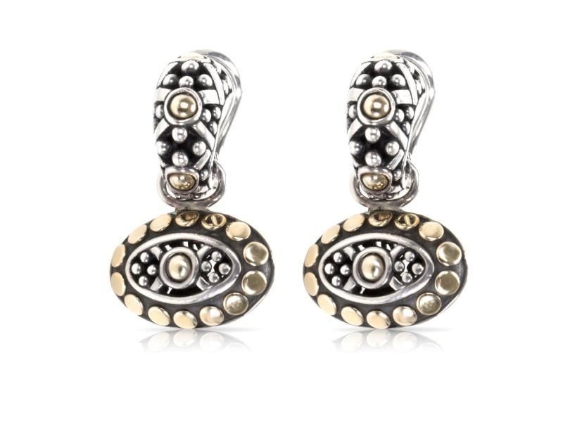 John Hardy Oval Dot Jaisalmer 18K Yellow Gold & Sterling Silver Drop Hoop Earrings