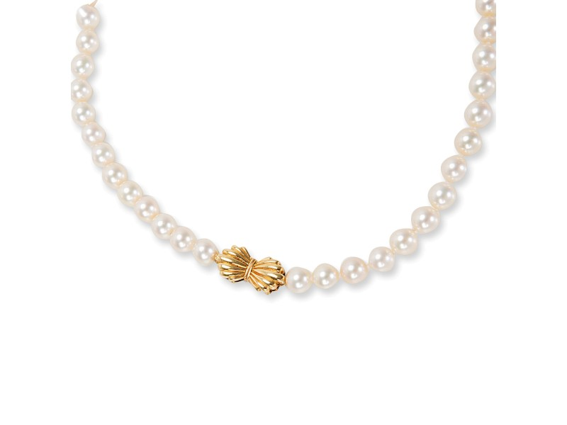 Mikimoto Vintage 14K Yellow Gold Cultured Pearl Necklace