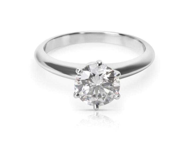 Tiffany & Co. Platinum Diamond Engagement Ring Size 4.75