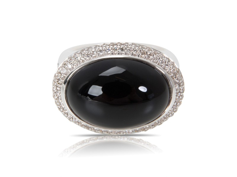 David Yurman Sterling Silver Onyx Diamond Ring Size 6