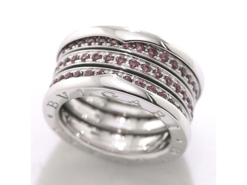 Bulgari B.zero1 18K White Gold Garnet Ring Size 6