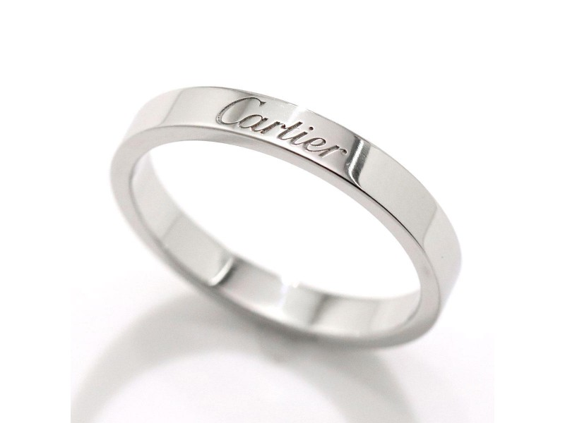 Cartier Engraved Ring Platinum Size 7.5