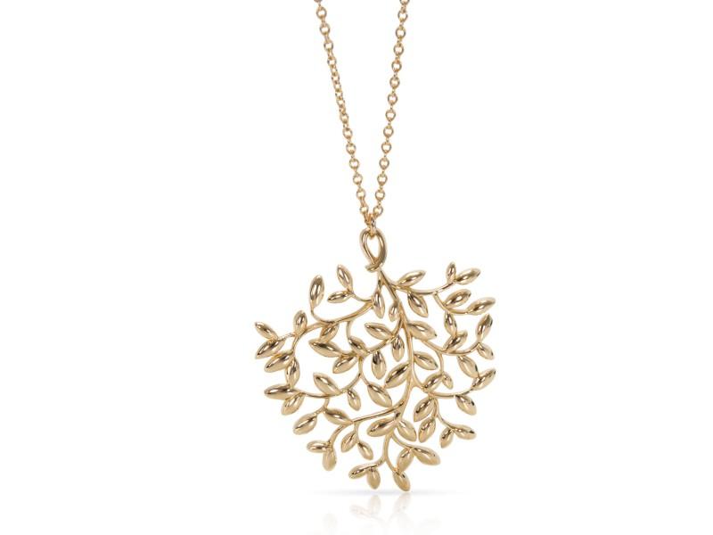 Tiffany & Co. Paloma Picasso Large Olive Leaf Pendant Necklace 18K Yellow Gold