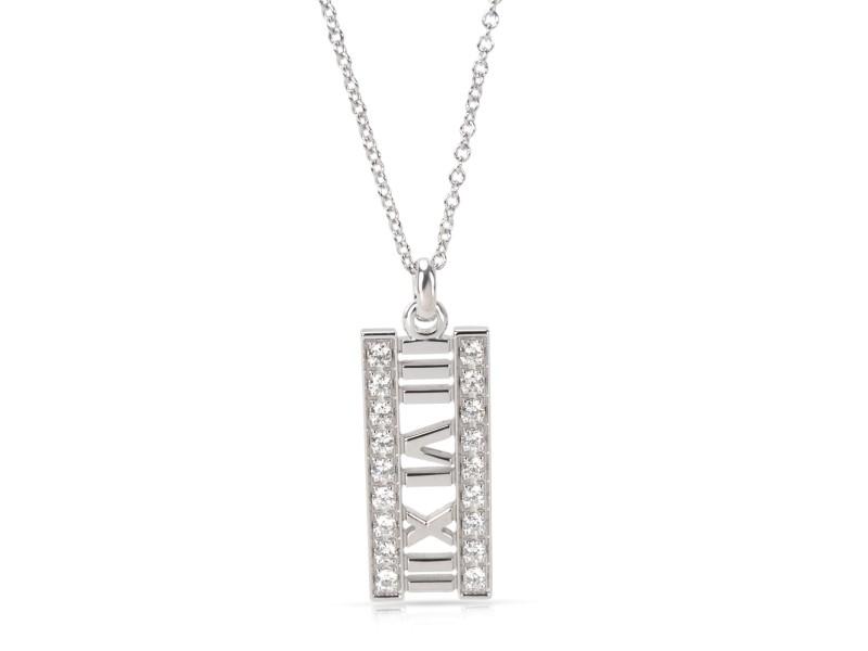 Tiffany & Co. Open Atlas Diamond Pendant Necklace in 18K White Gold 0.20ctw.