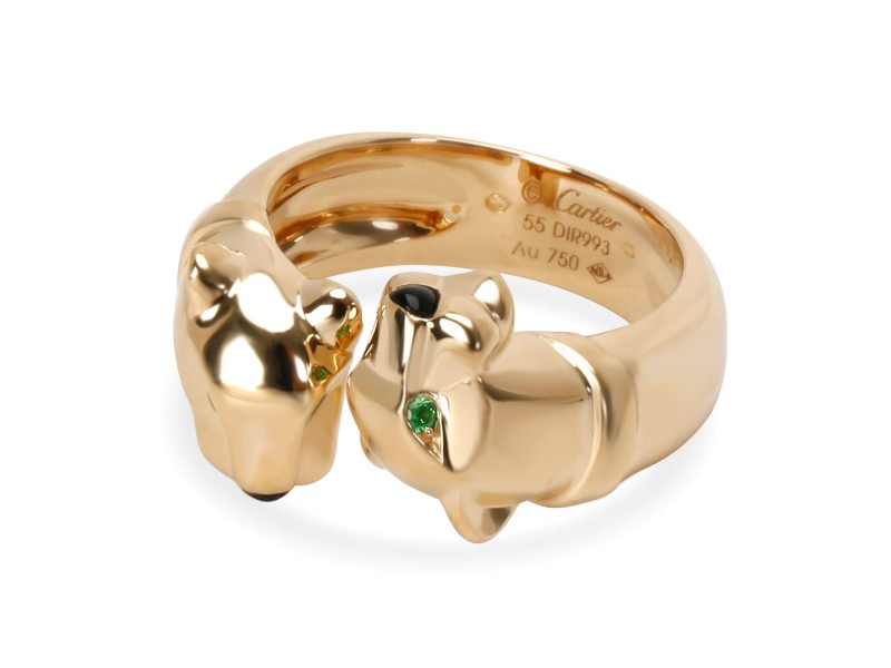 bf70d6cccec13 Cartier Panthere Ring with Emerald Eyes and Onyx nose in 18K Yellow Gold