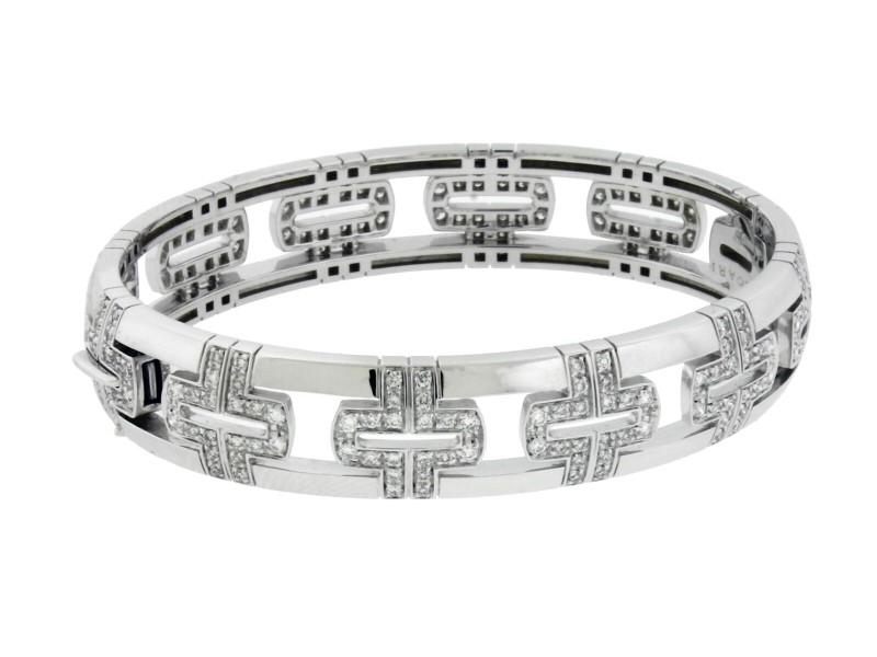 Bvlgari 18k white gold VS1 F diamond Parentesi Women's bracelet size S