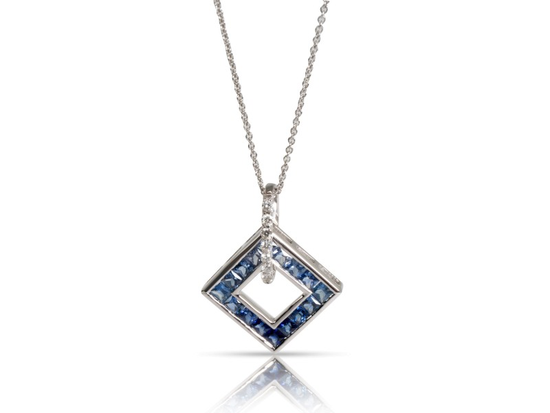 Open Square Sapphire & Diamond Necklace in 14K White Gold Blue 0.1 CTW