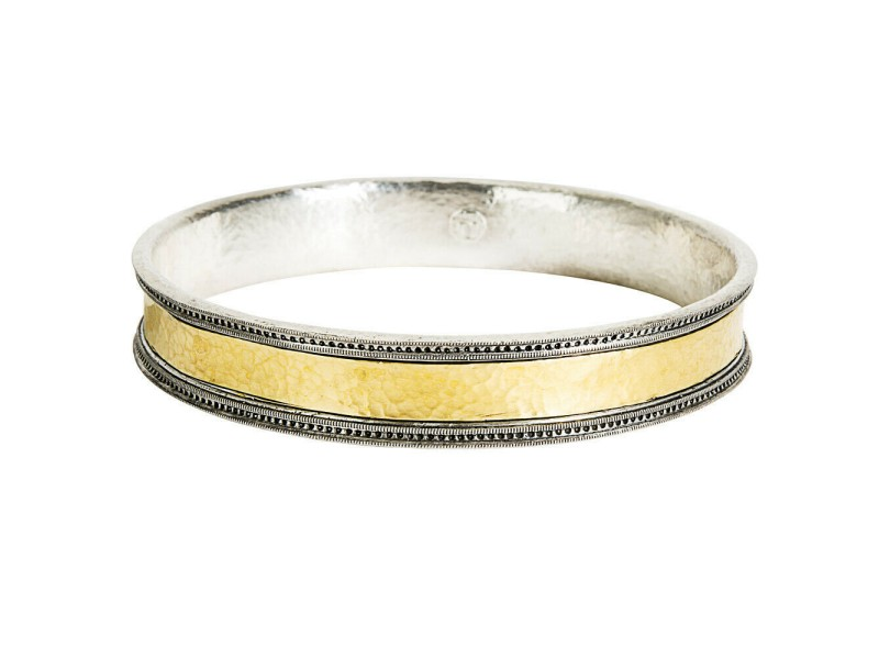Gurhan Bangle Bracelet in 24K Yellow Gold and Sterling Silver