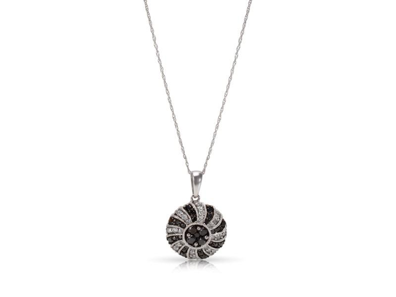 Black & White Diamond Cluster Pendant in 14KT White Gold 1.00ctw