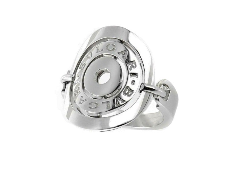 Bvlgari Cerchi Shield Ring in 18k white gold size 5