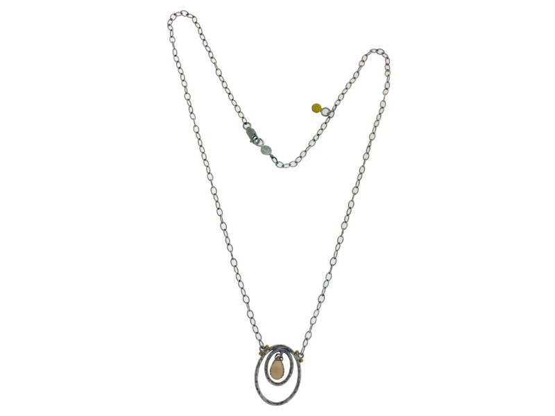 Gurhan glow honey topaz necklace in sterling and yellow gold