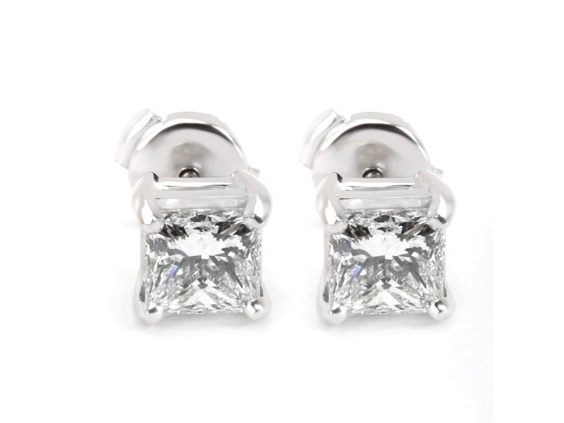 Blue Nile Princess Cut Diamond Stud Earring in Platinum GIA E VVS1 1.88 CTW