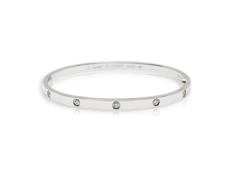 Cartier Love Small Diamond Bracelet in 18K White Gold (Size 17)