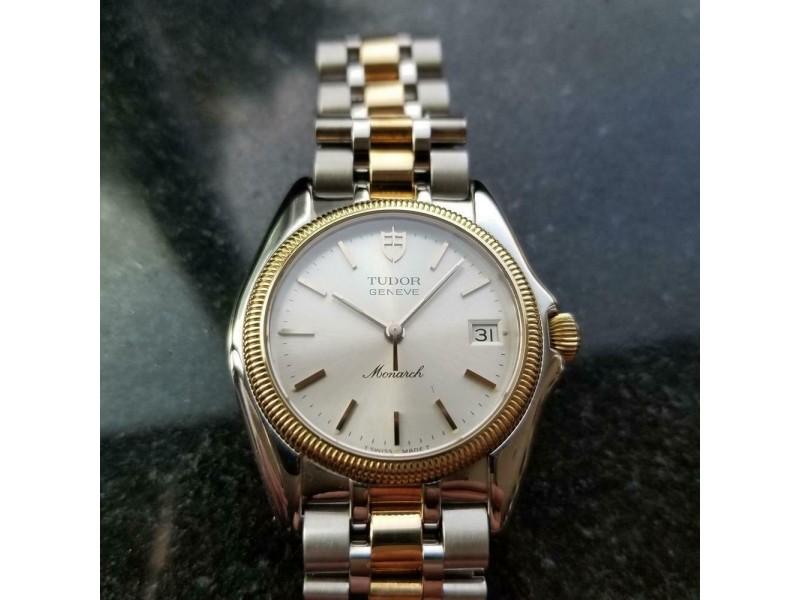 TUDOR Men's 18k & ss Monarch Geneve 15733 Quartz Date, c.1995 Swiss Luxury LV954