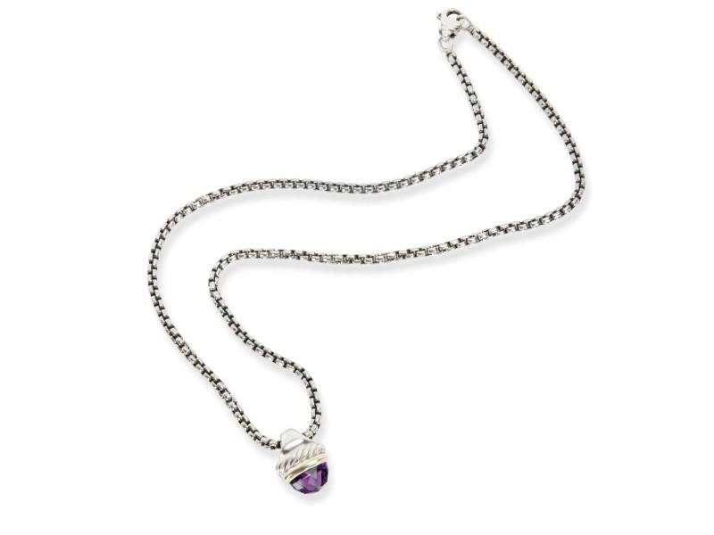 David Yurman Acorn Amethyst Necklace in  Sterling Silver
