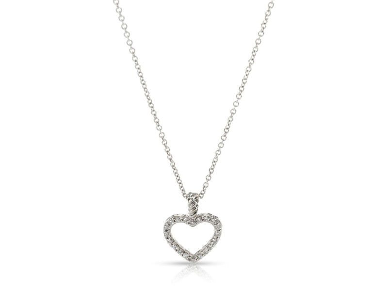 David Yurman Cable Diamond Heart Necklace in 18K White Gold 0.10 CTW
