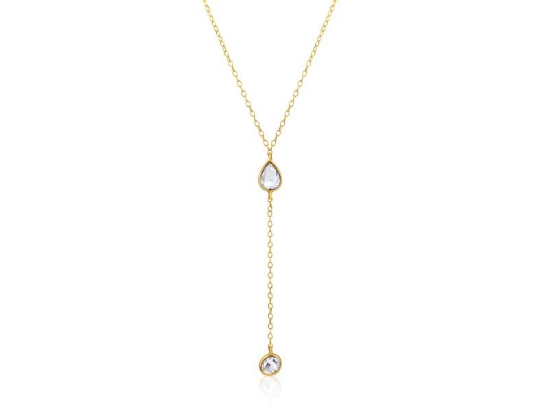 Rock & Divine Morning Light  Rose Cut Diamond Lariat Necklace 18K Gold 1.10 CTW