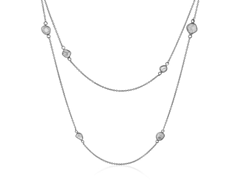 Rock & Divine Dawn Collection Lily Pad Diamond Necklace in 18K White Gold 1.6CTW