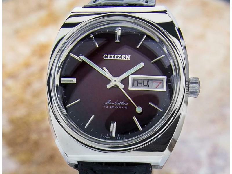 Mens Citizen Manhattan 37mm Manual Wind w/Day Date, c.1970s Vintage Dx36