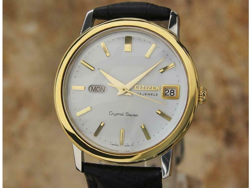 Mens Citizen Crystal Seven 37mm Day Date Automatic, c.1960s Vintage EE25