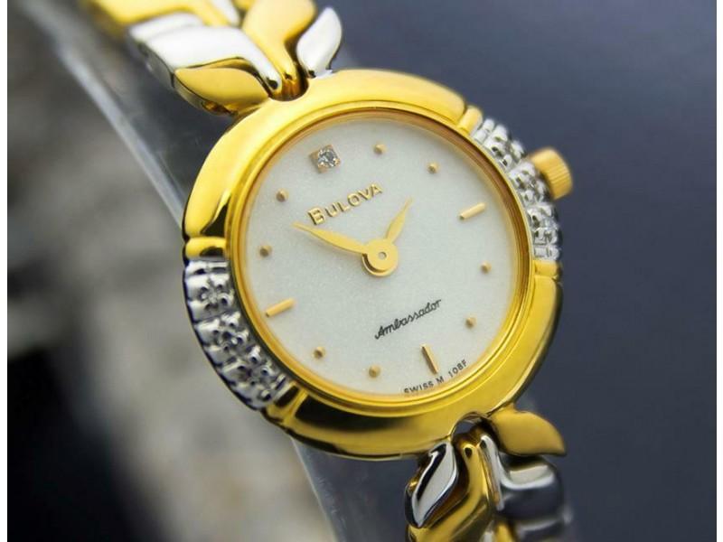 Ladies Bulova Ambassador 20mm Gold Plated Diamond Dress Watch, c.2000s J6643