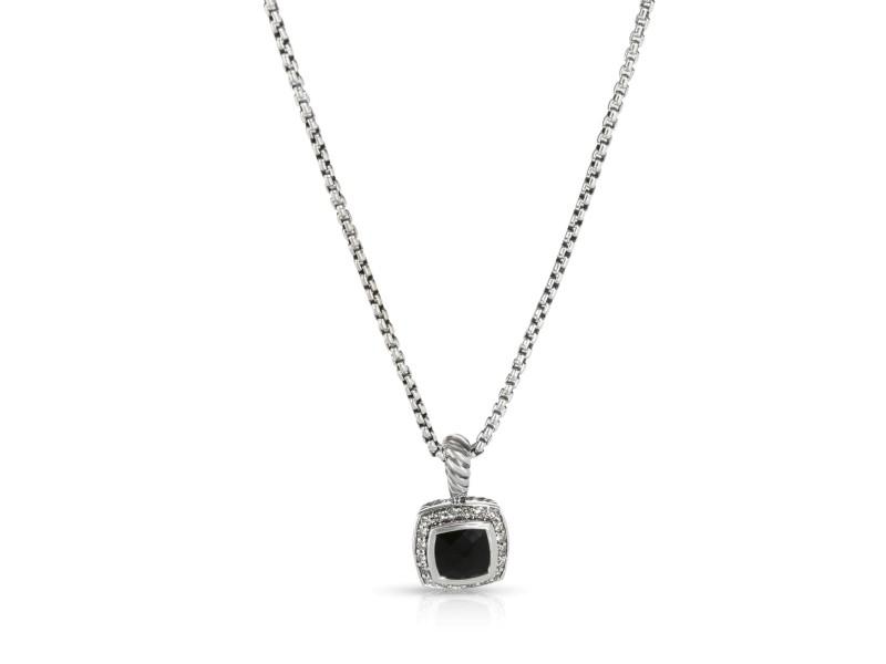 David Yurman Albion Onyx Diamond Necklace in  Sterling Silver Black 0.17 CTW