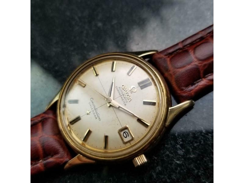 Mens Omega Constellation Calendar 34mm 18k Gold Automatic, c.1960s Swiss LV662