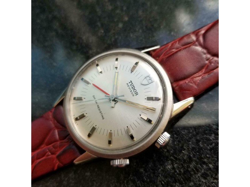 Mens Tudor Advisor ref.10050 35mm Manual-Wind w/Alarm, c.1980s Swiss LV601RED