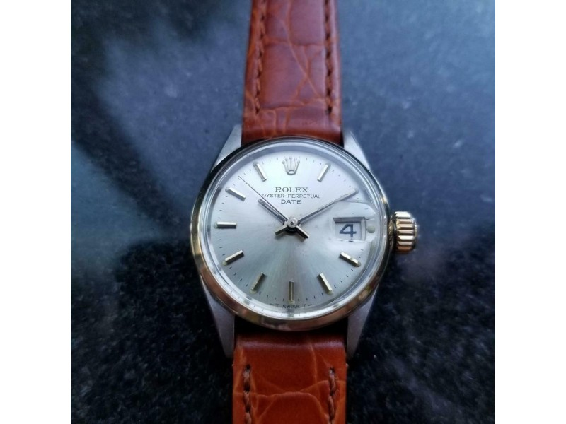Ladies Rolex Oyster Perpetual Date 6516 25mm 14k & ss Automatic c.1960s MS158BRN