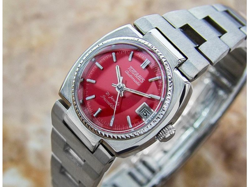 Ladies Tugaris 21j 24mm Date Automatic Red Dial, c.1960s Swiss NR18
