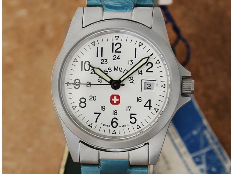 Mens Midsize/Boys Swiss Military 30mm Stainless Steel Quartz w/Date c.2000 TD634