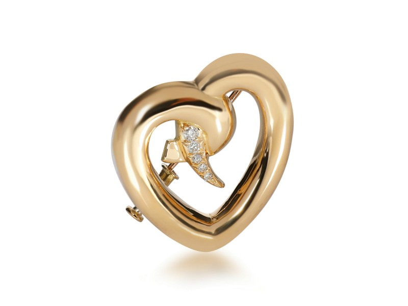 Tiffany Paloma Picasso Open Heart Diamond Brooch in 18K Yellow Gold 0.2 CTW