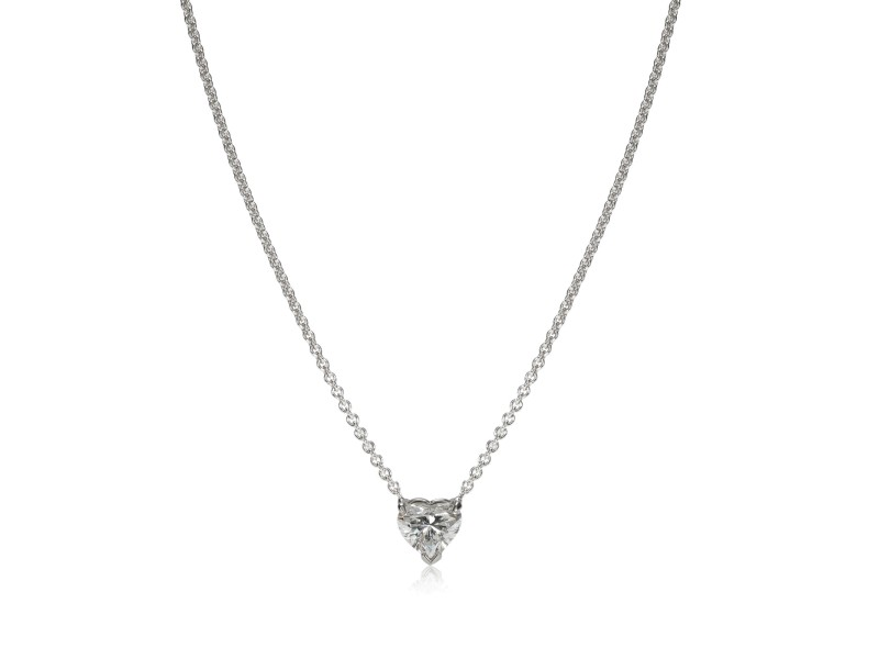 GIA Certified Heart Diamond Necklace in 14KT White Gold G VVS2 1.06 ctw