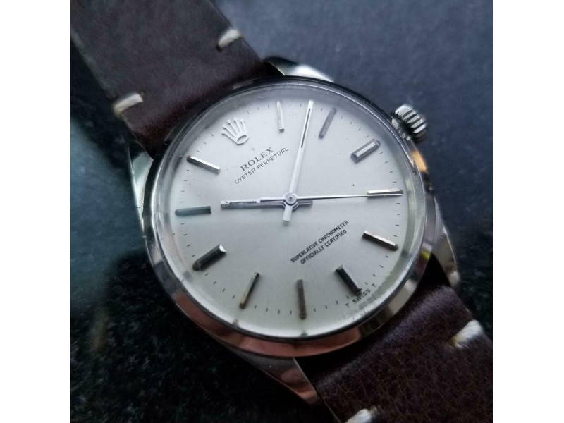 Mens Rolex Oyster perpetual 1002 34mm Automatic, c.1960s Swiss Vintage LV916