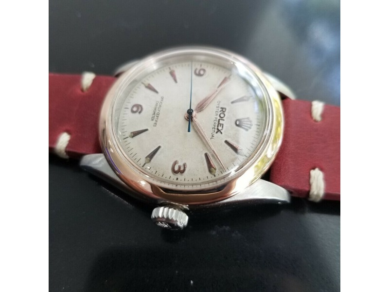 Mens Rolex Oyster Perpetual 34mm 18k Rose Gold & SS Automatic, c.1950s MA188RED