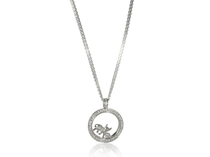 Chopard Happy Zodiac Taurus Diamond Necklace in 18K White Gold 1.4 CTW