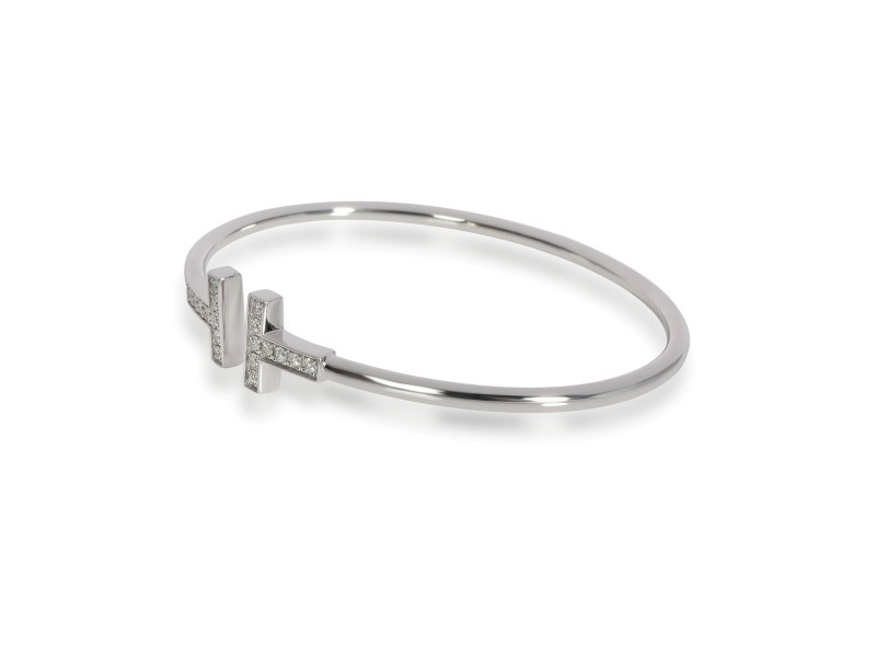 Tiffany & Co. T Wire Bangle with Diamonds in 18K White Gold 0.36 CTW