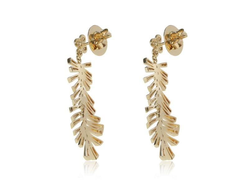 Herring Bone Diamond Drop Earrings in 18KT Yellow Gold 0.31 CTW