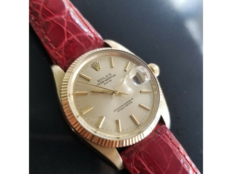 Mens Rolex Oyster perpetual Ref.1503 35mm 14k Gold Automatic, c.1970s RA149RED