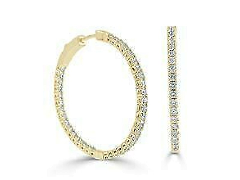 14k Gold & Diamond Flexible Hoops 1.25''