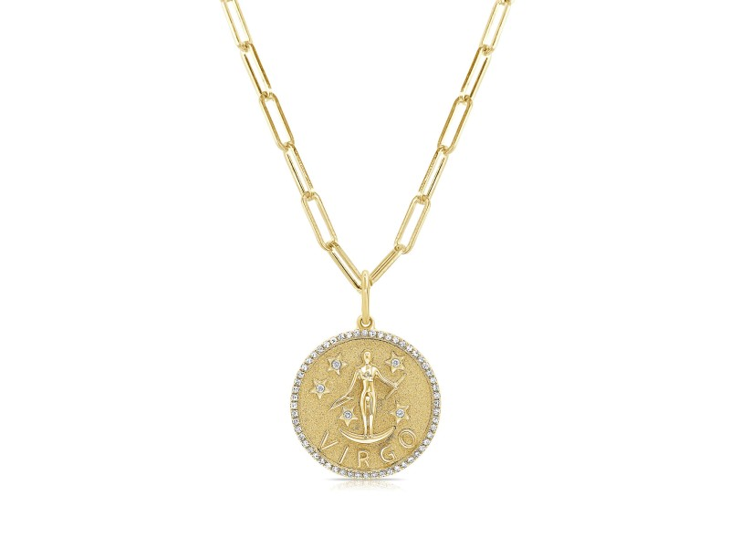 Virgo Zodiac Diamond Necklace in 14KT Yellow Gold