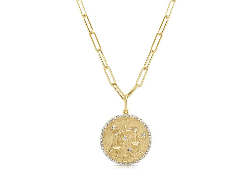 Libra Zodiac Diamond Necklace in 14KT Yellow Gold